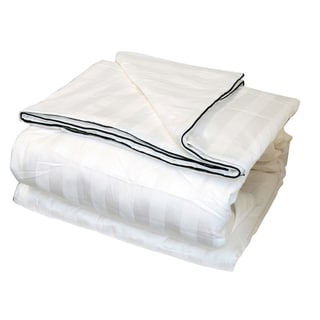 Silk-filled Damask Stripe Cotton Blanket