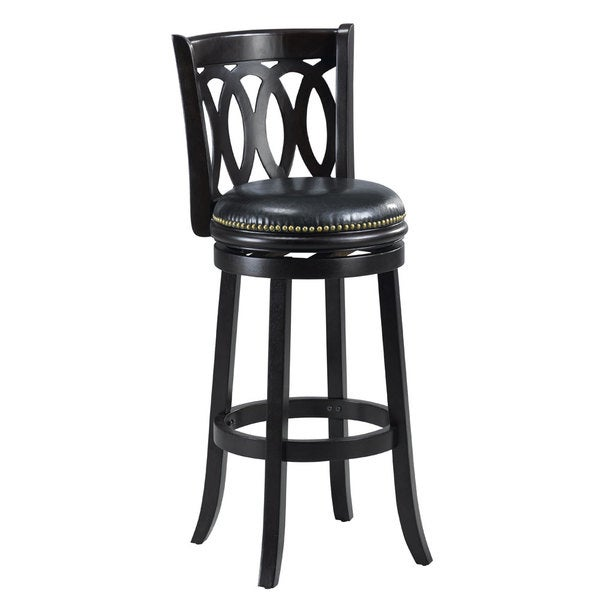 Cameron Black Spiral Back Swivel Bar Stool Free Shipping