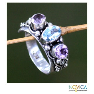 Sterling Silver 'Morning Joy' Blue Topaz and Amethyst Ring (Indonesia)