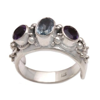 Handmade Sterling Silver 'Morning Joy' Blue Topaz and Amethyst Ring (Indonesia)