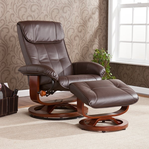 Harper Blvd Viridian Cafe Brown Recliner/ Ottoman Set