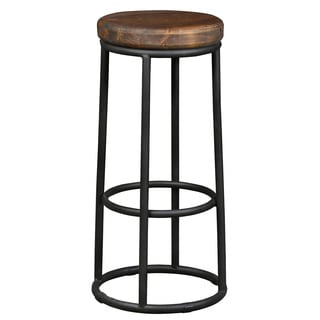 Willow Reclaimed Wood and Iron 30-inch Backless Barstool by Kosas Home