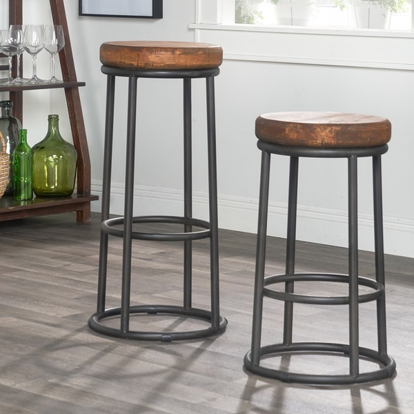 willow reclaimed wood and iron 30inch backless barstool by kosas home