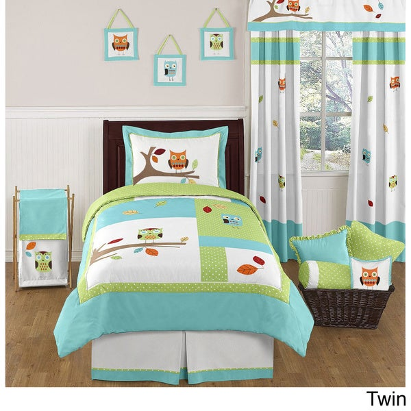 Turquoise and Lime Hooty Bedding Set
