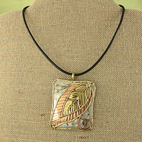 Handmade Copper and Brass Leaf Necklace (India)