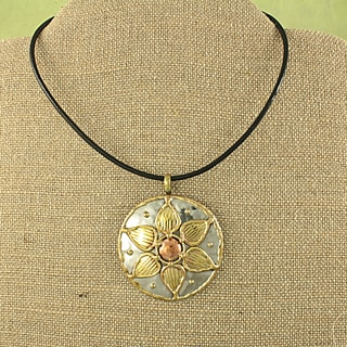 Handcrafted Copper and Brass Flower Pendant Necklace (India)