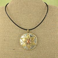 Handmade Copper and Brass Flower Pendant Necklace (India)