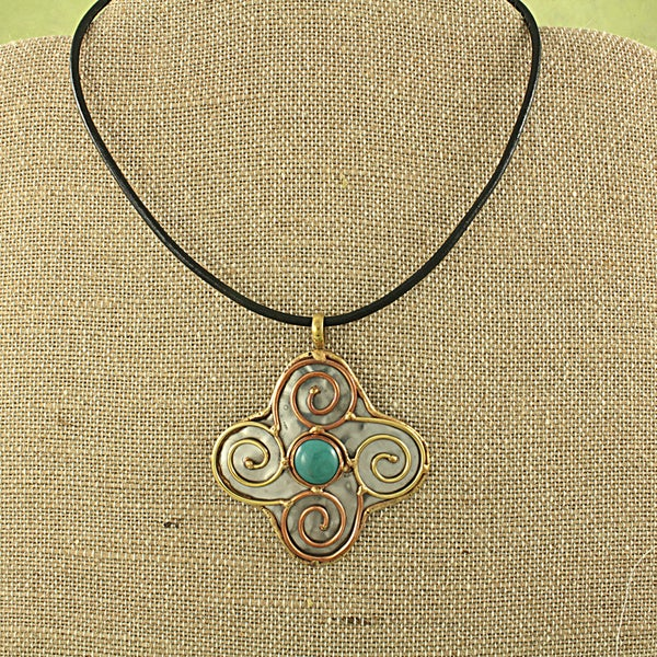 Handcrafted Copper and Brass Stone Swirl Pendant Necklace (India)