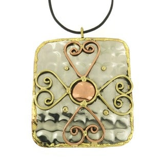 Handcrafted Copper and Brass over Stainless Steel Cross Pendant Necklace (India)
