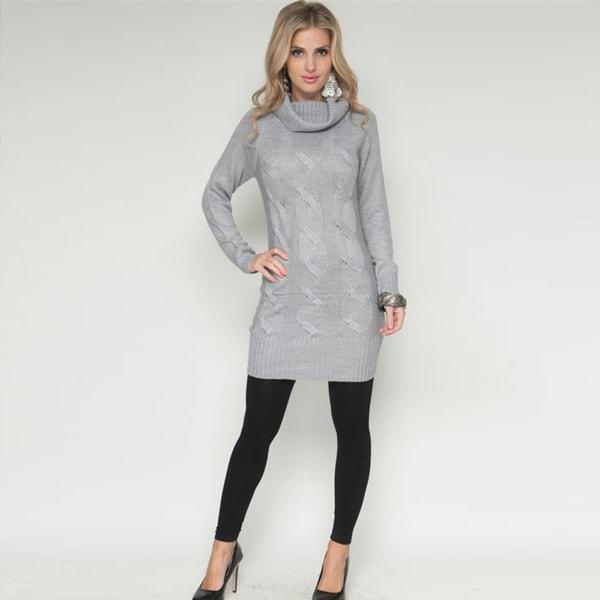 Stanzino Women's Cowl Neck Grey Sweater