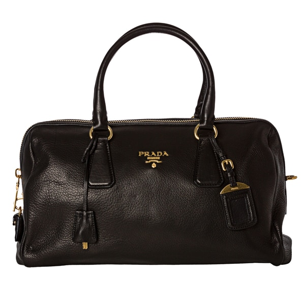 Prada 'Cervo' Black Leather Bowler Bag
