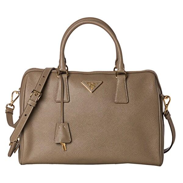 Prada 'Lux' Beige Saffiano Leather Structured Satchel