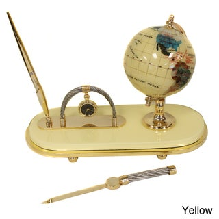 Casa Cortes Executive Handcrafted Gemstone Globe Desk Pen Set (Gift Set)