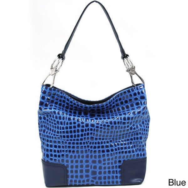 Dasein Croco-embossed Hobo Bag