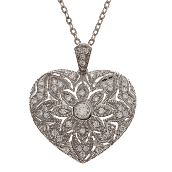 Beverly Hills Charm Platinum over Silver Cubic Zirconia Heart Necklace
