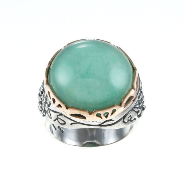 Beverly Hills Charm 14k Rose Gold and Silver 10ct TGW Aventurine Ring