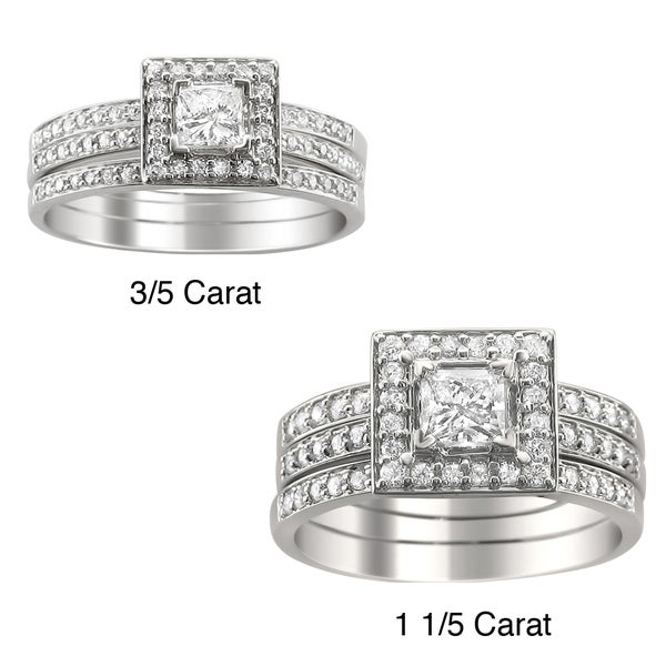 Montebello 14k Gold 3/5 or 1 1/5ct TDW Diamond 3-piece Bridal Ring Set (H-I, I1)