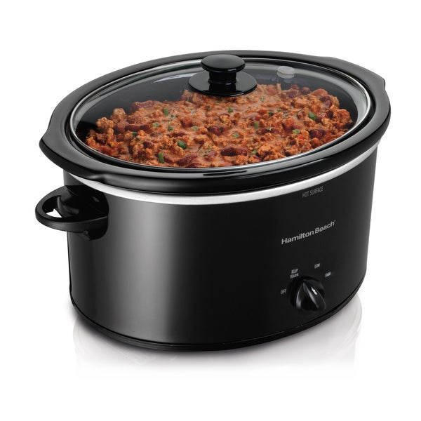 Hamilton Beach 33258 Black 5-quart Oval Slow Cooker