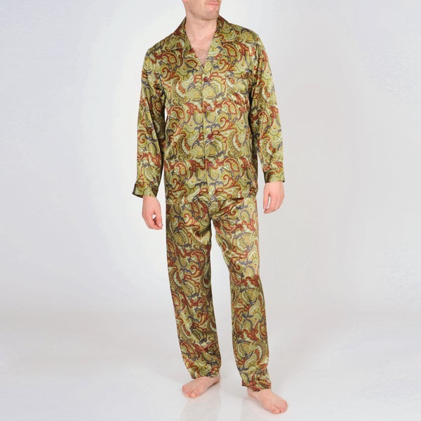 Majestic Sterling Men's Printed Silk Pajama Set
