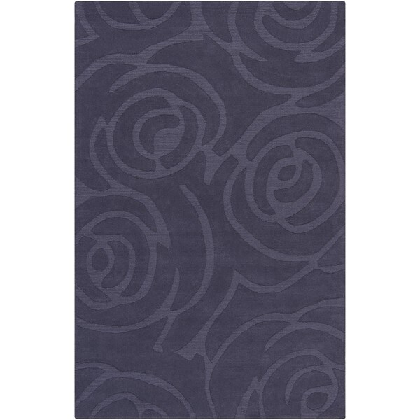 Mandara Hand-tufted Geometric Blue Wool Rug (5' x 7'6)
