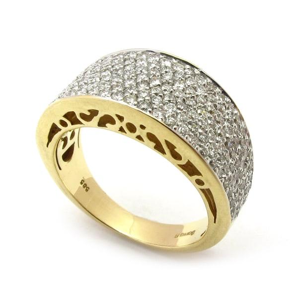 Sonia Bitton 14k Yellow Gold 1 1/5ct TDW Pave Diamond Designer Ring (G-H, SI1-SI2)