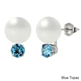 Sterling Silver White Freswhater Cultured Round Pearl and Gemstone Earrings (10-10.5 mm)