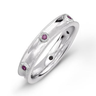 Sterling Silver 1/10ct TGW Pink Sapphire Band