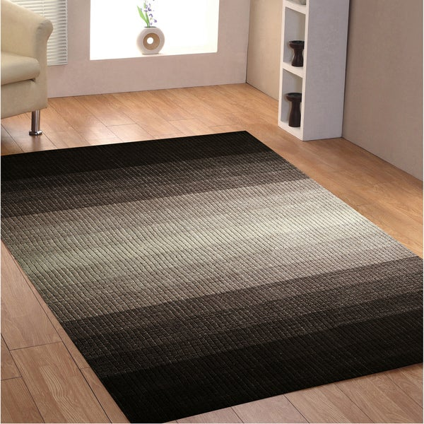Hand-tufted Rays Grey Wool Rug (4' x 6')