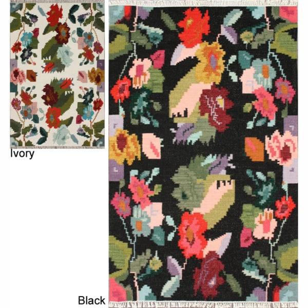 nuLOOM Handmade Flatweave Kilim Floral Rug