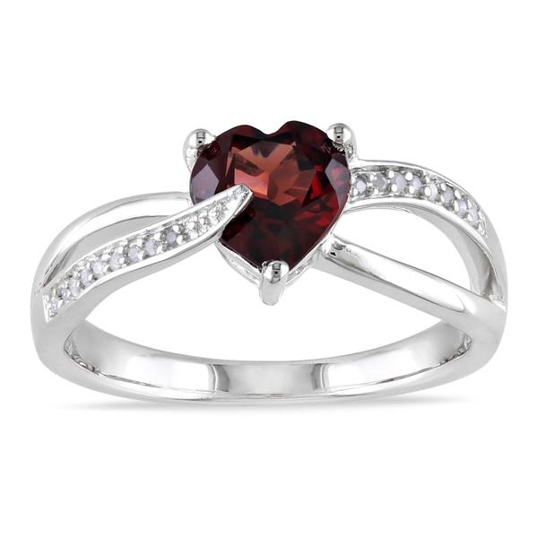 Miadora Sterling Silver Garnet and Diamond Heart Ring (G-H, I1-I2)