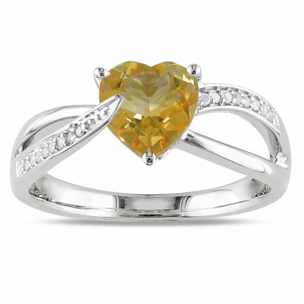 Miadora Sterling Silver Citrine and Diamond Heart Ring (H-I, I2-I3)