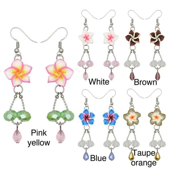 Kate Marie Silvertone Acrylic and Rhinestone Flower Design Earrings