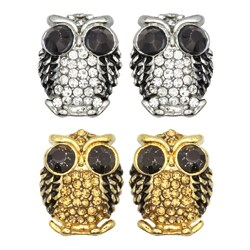 Kate Marie Goldtone or Silvertone Black Rhinestone Owl Design Earrings (2 options available)