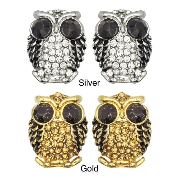 Kate Marie Goldtone or Silvertone Black Rhinestone Owl Design Earrings