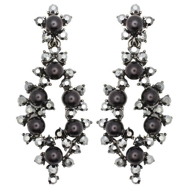 Kate Marie Silvertone Black Acrylic and Rhinestone Earrings