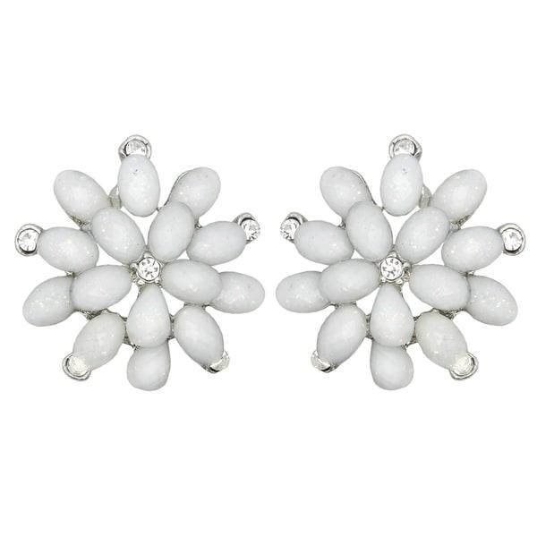 Kate Marie Silvertone White Rhinestone and Acrylic Flower Earrings