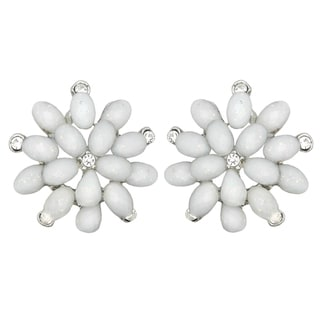 Kate Marie Silvertone White Rhinestone and Acrylic Flower Earrings