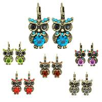 Kate Marie Silvertone Acrylic and Crystal Owl Design Earrings