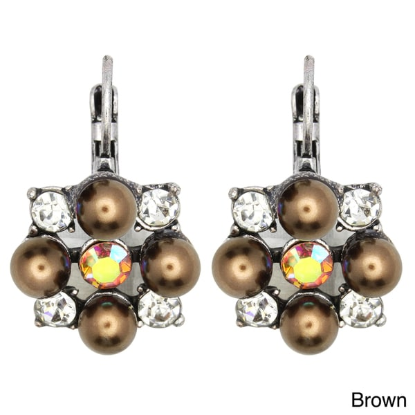 Kate Marie Silvertone Acrylic and Crystal Square Design Earrings