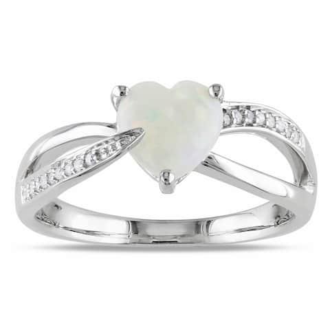 Miadora Sterling Silver Opal and Diamond Heart Ring (H-I, I2-I3)