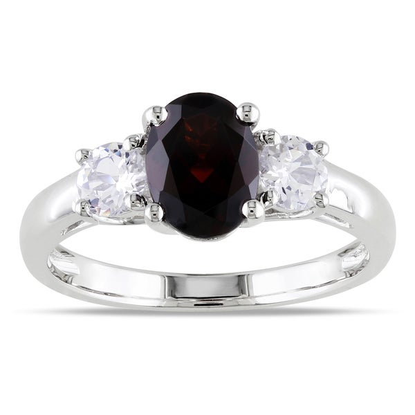 Miadora Sterling Silver Garnet and Created White Sapphire Ring