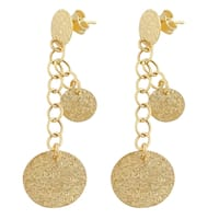 Fremada 14k Yellow Gold Graduated Hammered Discs Dangle Earrings
