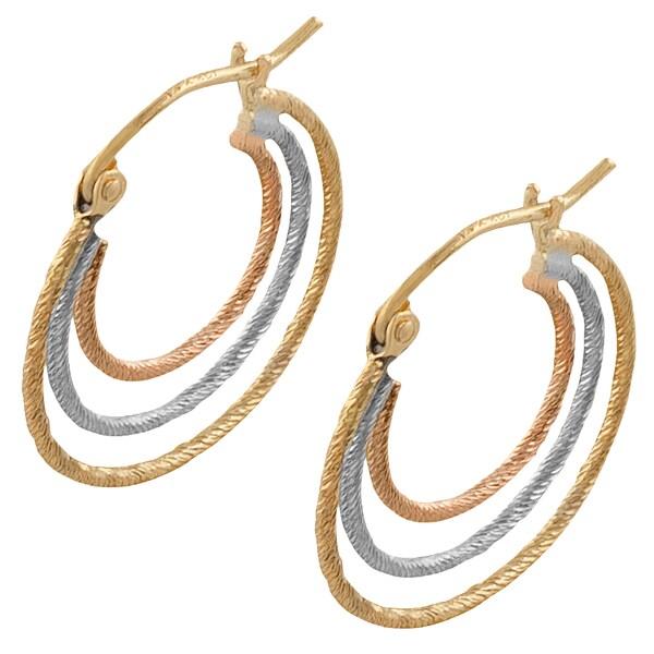 14k Tri-Color Gold Heart Diamond-Cut Graduated Hoop Earrings, 15mm X 15mm