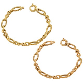 Fremada 14k Yellow, Pink Gold Fancy Oval Link Bracelet