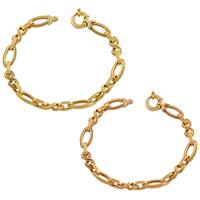 Fremada 14k Yellow, Pink Gold Fancy Oval Link Bracelet