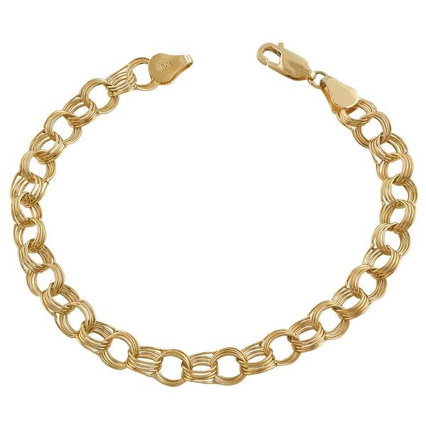 Fremada 14k Yellow Gold Charm Bracelet