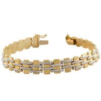 Fremada 14k Two-tone Gold Pave Bracelet