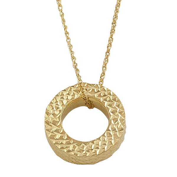 Fremada 14k Yellow Gold Cable Chain Circle Necklace