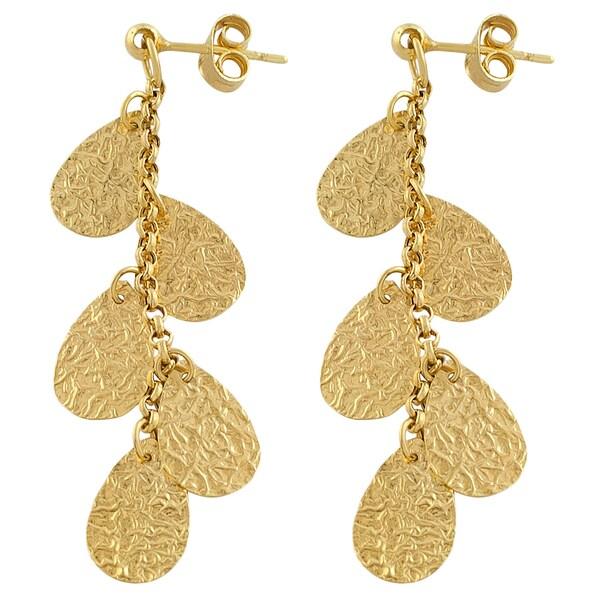 Fremada 14k Yellow Gold Hammered Teardrops Dangle Earrings