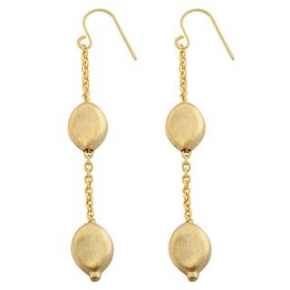 Fremada 14k Yellow Gold Matte Bean Dangle Earrings